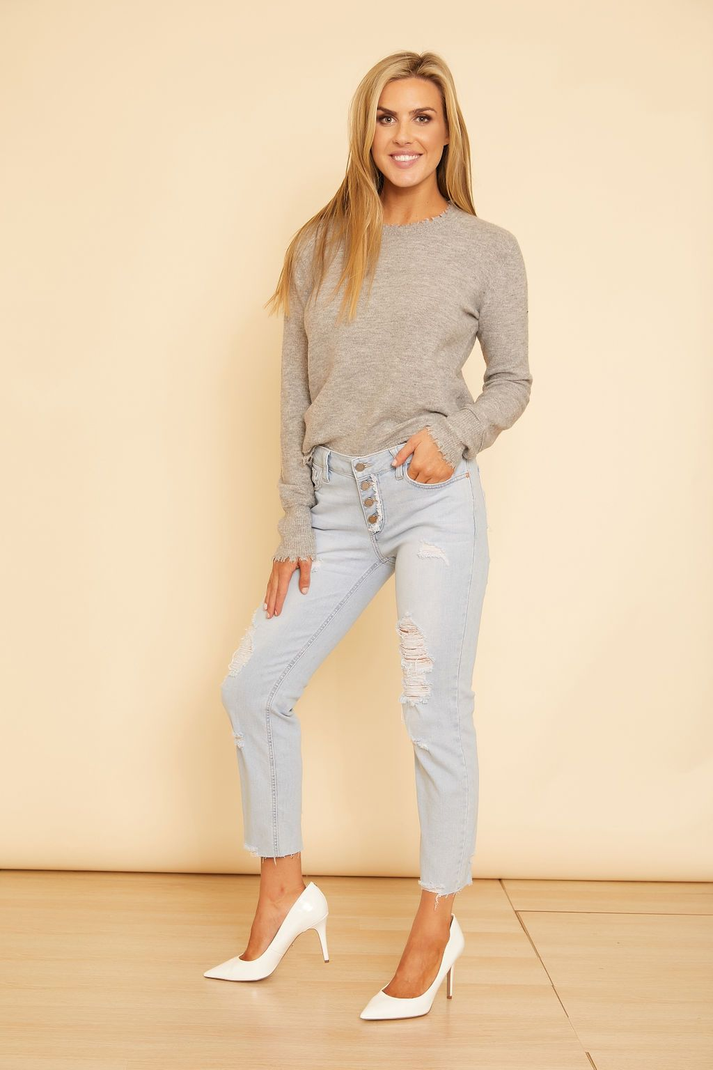 Savannah Button Down Distressed Denim - wearNYLA