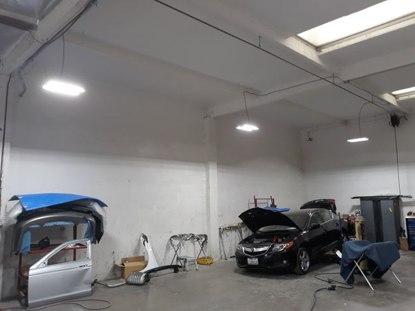 LED High Bay Fixtures Installed in Commercial Shop