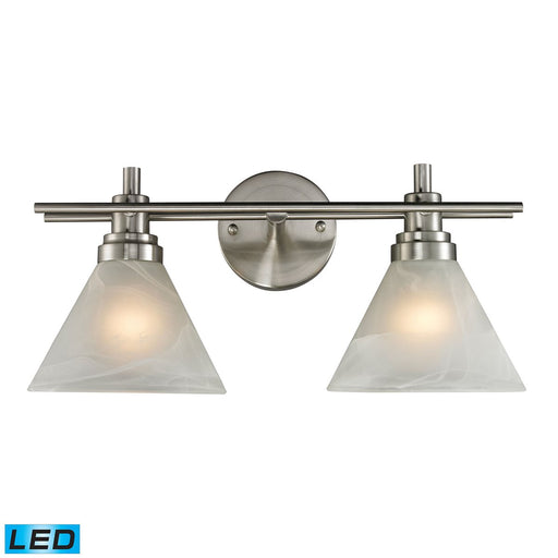 PEMBERTON 2 LIGHT BATH IN BRUSHED NICKEL - LED OFFERING UP TO 800 LUMENS (60 WATT EQUIVALENT) 11401/2-LED