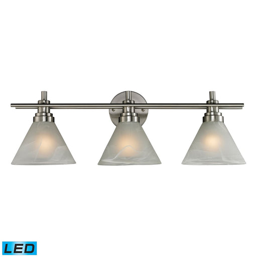 PEMBERTON 3 LIGHT BATH IN BRUSHED NICKEL - LED OFFERING UP TO 800 LUMENS (60 WATT EQUIVALENT)