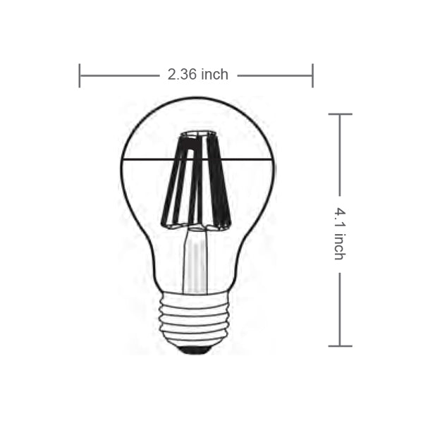 Filament A19 Half Mirror Bulb 360° (Dimmable)