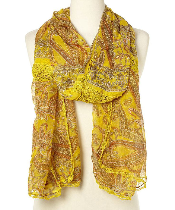 Raj Scarf Printed Mustard - Rajimports - Women's Clothing