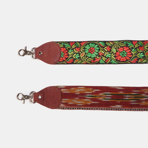 Raj Black Floral Thick Guitar Strap