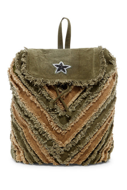 Raj Frayed Beaded Star Backpack