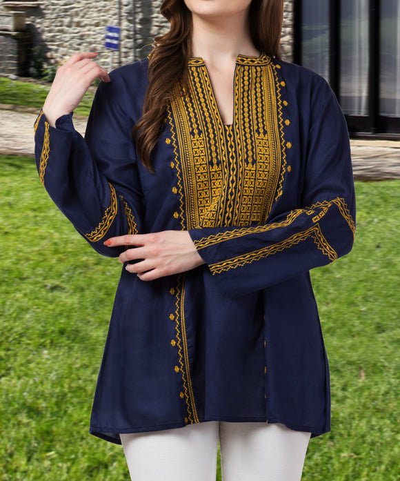 Raj Machine Embroidered  Tunic - Raj Imports