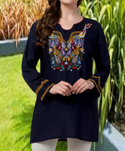 Raj Machine Embroidered Tunic - Rajimports - Women's Clothing