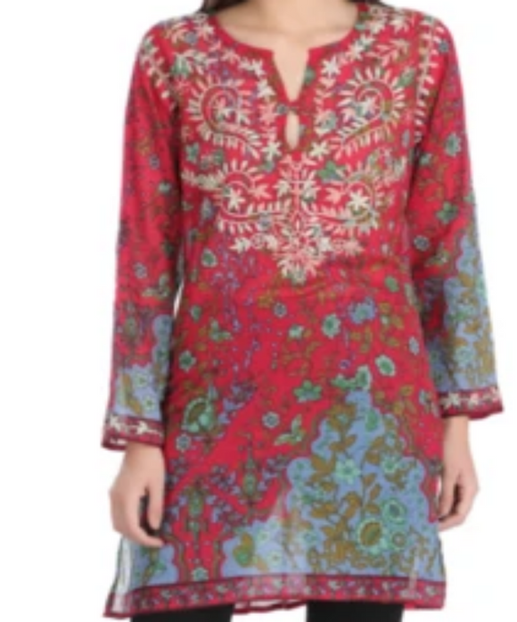 Raj Hand Embroidered Tunic - Rajimports - Women's Clothing