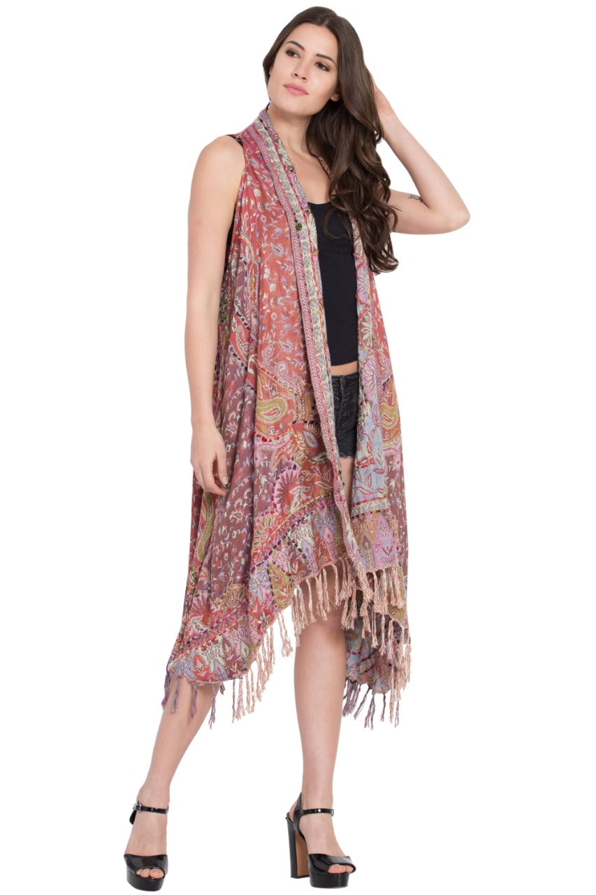 Paisley Sleeveless Taupe or Rose Vest