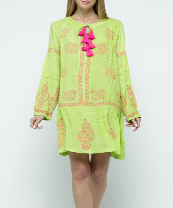 Raj Tassel/Block Print Tunic - Rajimports - Women's Clothing