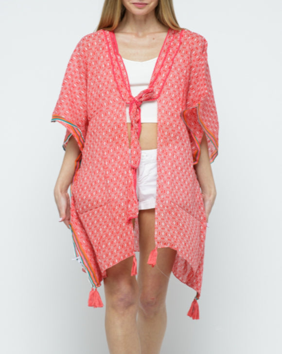 Raj Tasseled Kimono - Rajimports - Women's Clothing