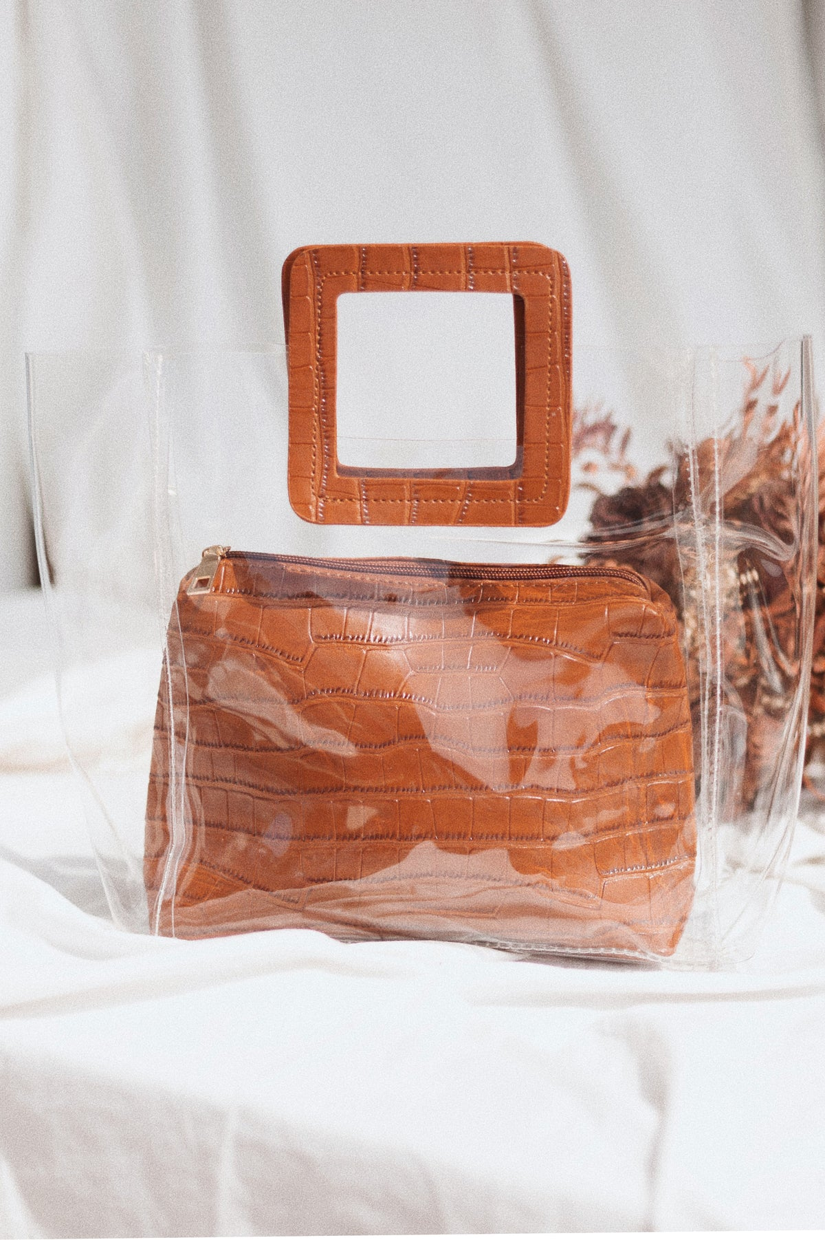 Brown Transparent Handbag