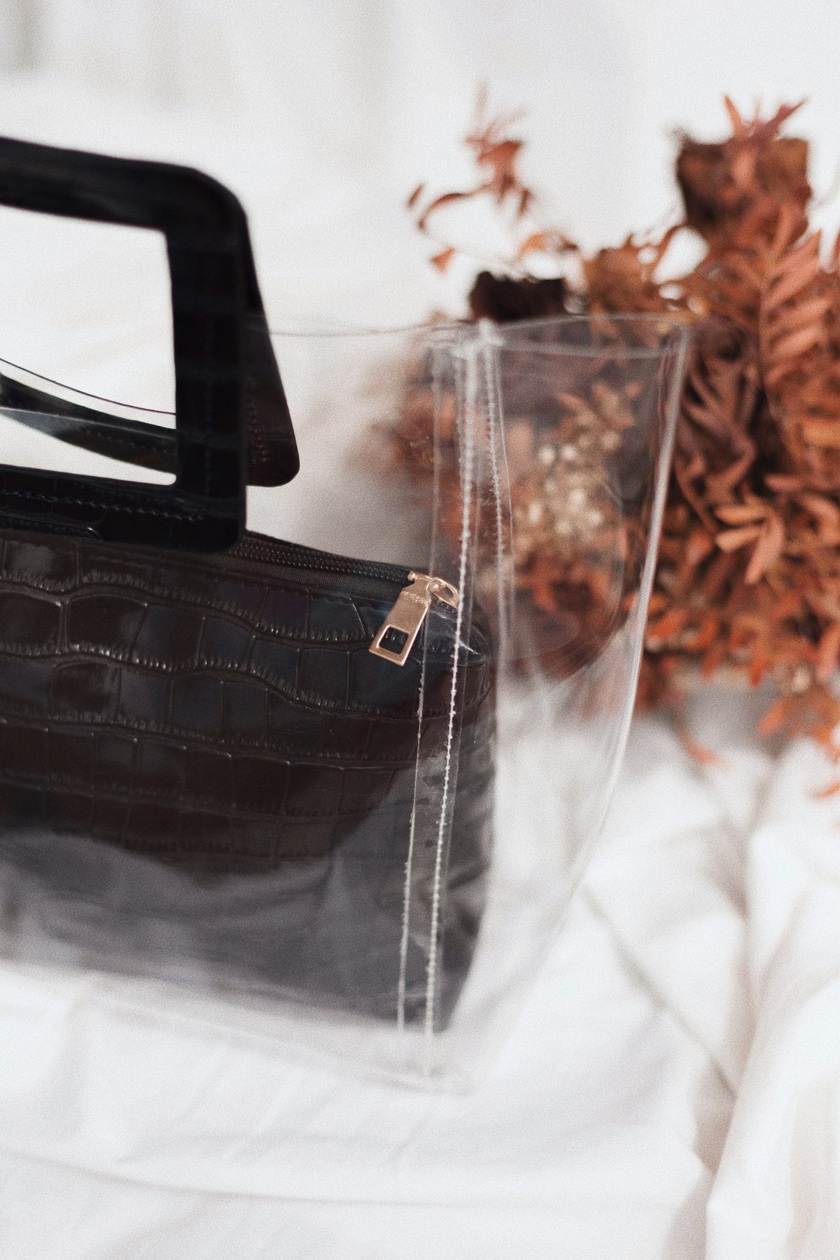 Black transparent handbag
