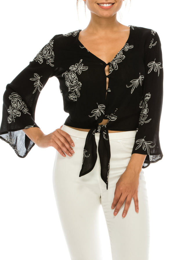 SAGE T4299H BELL SLEEVE FLORAL TOP
