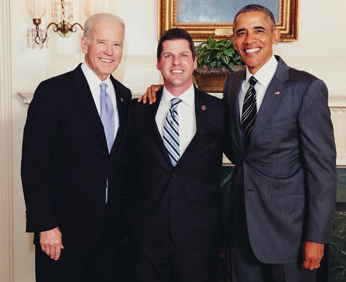 Jason Miller with President Obama and Vice President Biden