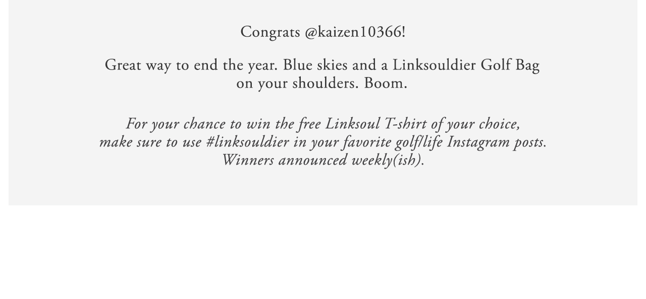 Use Hashtag LINKSOULDIER For A Chance To Win A Free Linksoul T Shirt