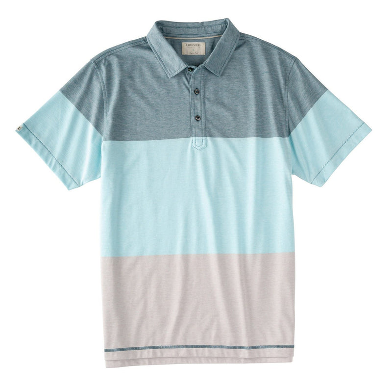 End On End Yarn Dyed Stripe Colorblock Knit Polo image