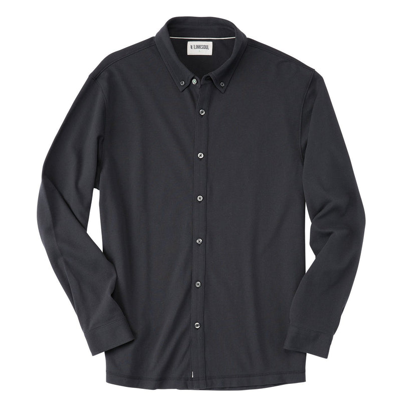 Long Sleeve Pique Button-Down Shirt image