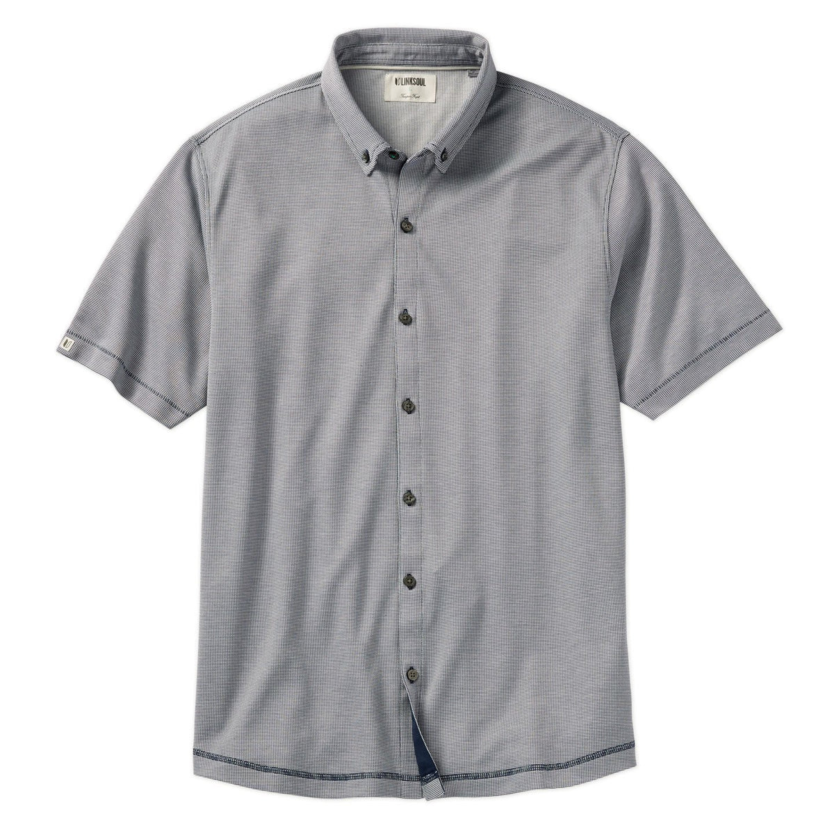 Double Knit Dry-Tech Short Sleeve Button-Down Shirt
