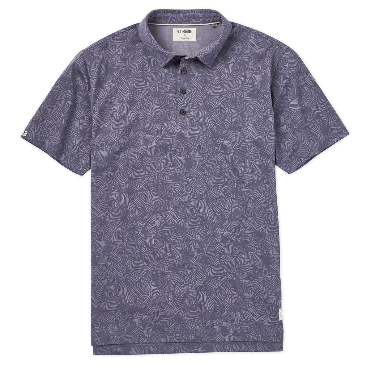 Palm Print Short Sleeve Polo Shirt