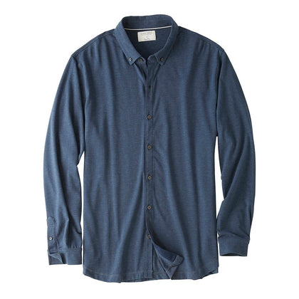 Styled as a long sleeve woven shirt, this knit shirt is made from a comfortable cotton blend performance / moisture-wicking fabric.