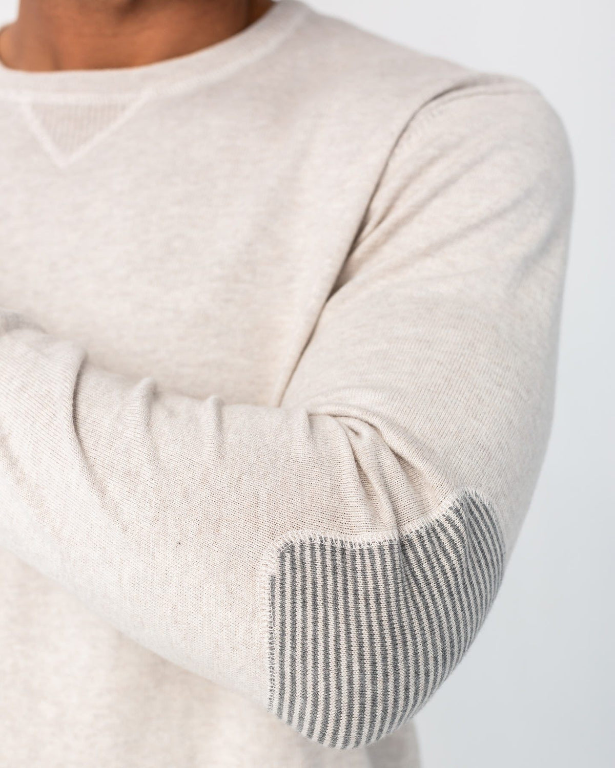 Cotton-Cashmere Elbow Patch Sweater