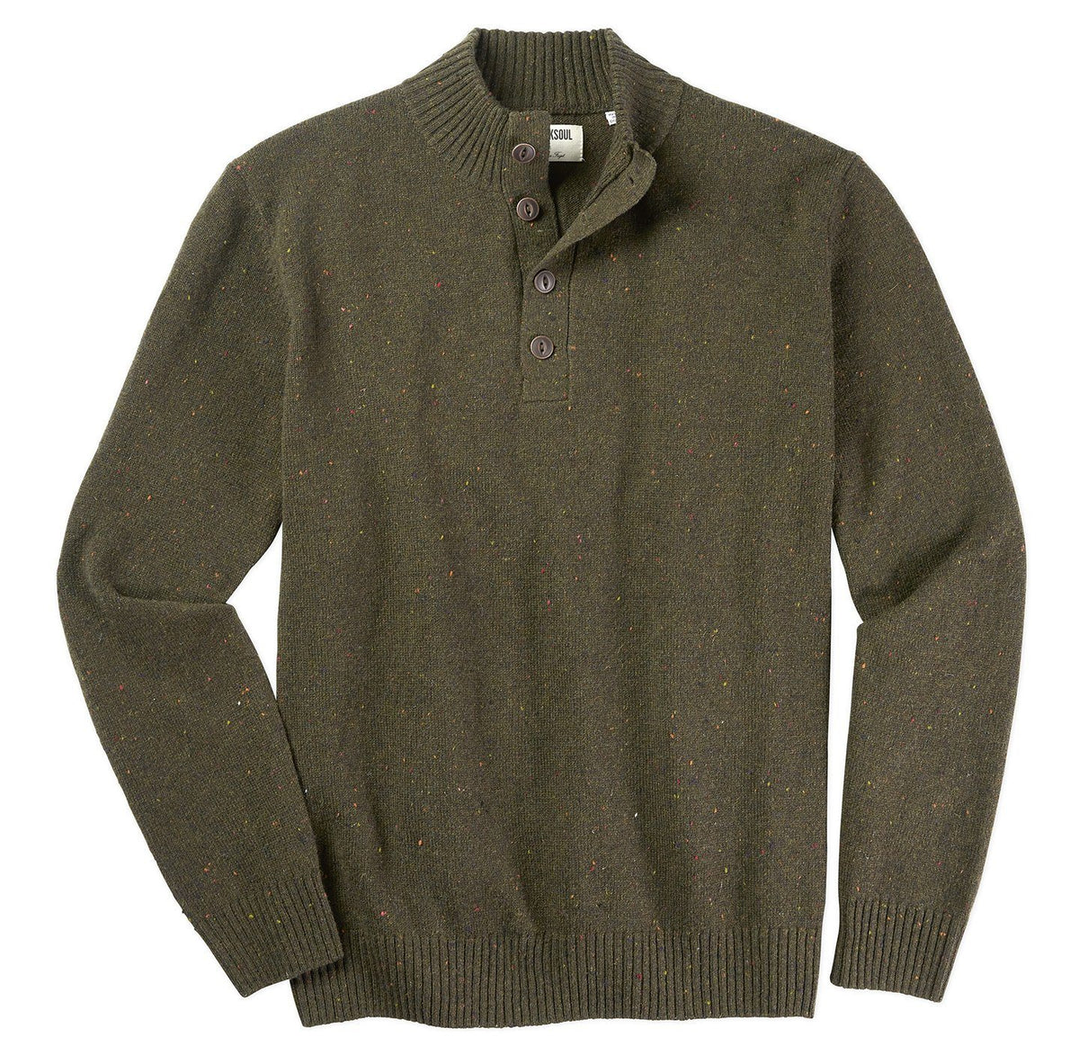 Flecked Wool Henley Sweater