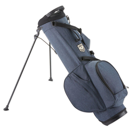 Walk or ride in style with our Linksouldier Golf Bag. Offering protection for your clubs, its dual strap and carry handle system makes lifting and transporting a breeze. The wide stand mechanism provides stability and balance, while the myriad of pockets give plenty of storage for all of your essentials. Between the beverage sleeve on the side accessory pocket to the storm flaps on the zippers designed for inclement weather, this multi-functional bag will have you prepared regardless of the elements. Weight: 4.8lbs