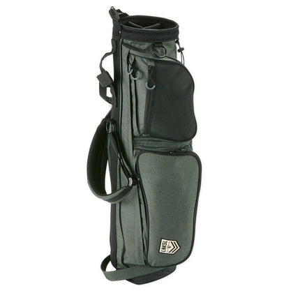 We've added a new member to the family. Introducing our brand new, double strap, lighter-weight carry bag. It's our go-to for throwing in a few clubs for a quick nine, or a short course. Plenty of pockets for the things ... including a cozy little spot for your resealable adult beverage or water bottle. Side pocket with Linksouldier patch unzips completely for your embroidering pleasure. Durable handle grip on both ends for lifting. Choose whether you want to wear it as a single strap, or a double. Both super comfy. Pack it with you just about anywhere ... #linksouldier.     Weight: 2.4 lbs