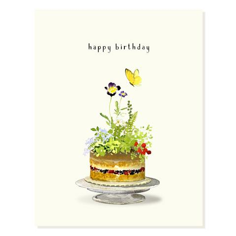 Garden Party Birthday Cake Card