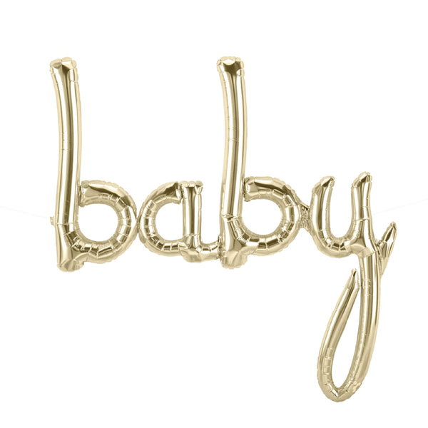 Baby Script White Gold Balloon