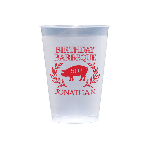 Birthday Barbecue Frosted Shatterproof Cups