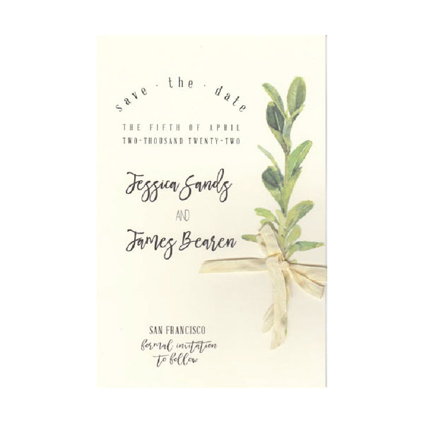 Boxwood Sprig with Ecru Ribbon Invitations