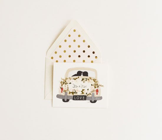 Mr. & Mrs. Vintage Car Wedding Card