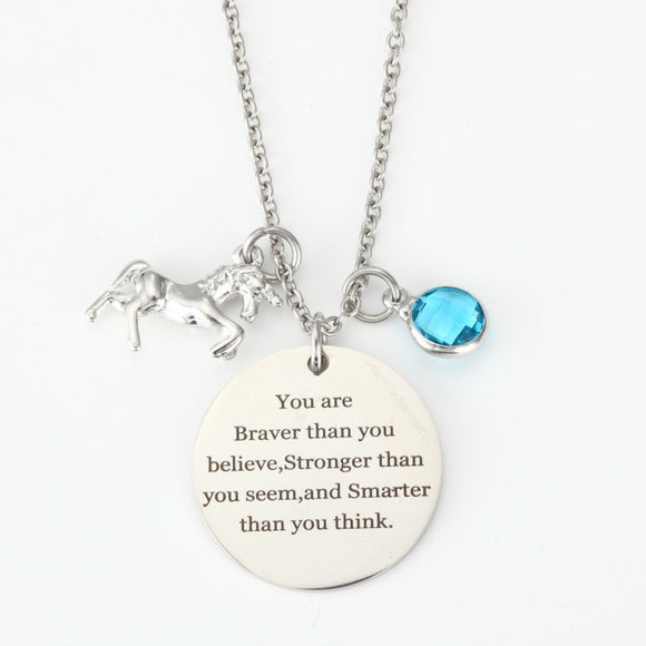 Birthstone and Unicorn Charms 316L Stainless Steel Necklace - EZShopping