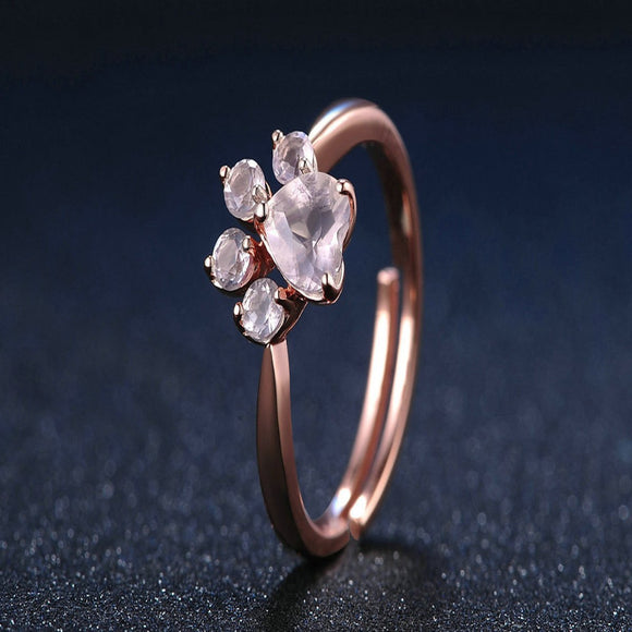 Cat Dog Bear's Paw Rose Gold Resizable Rings For Women - EZShopping