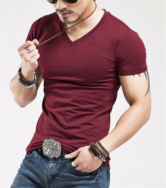 Elastic V neck Men T Shirt Mens - EZShopping