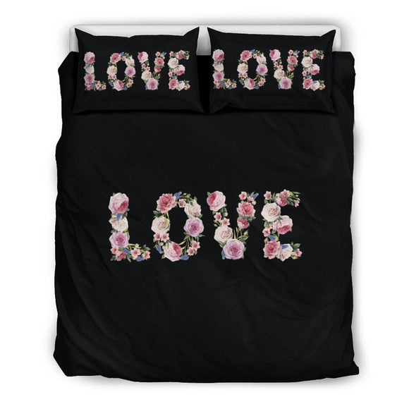 Floral Love - Bedding Set (Black) - EZShopping