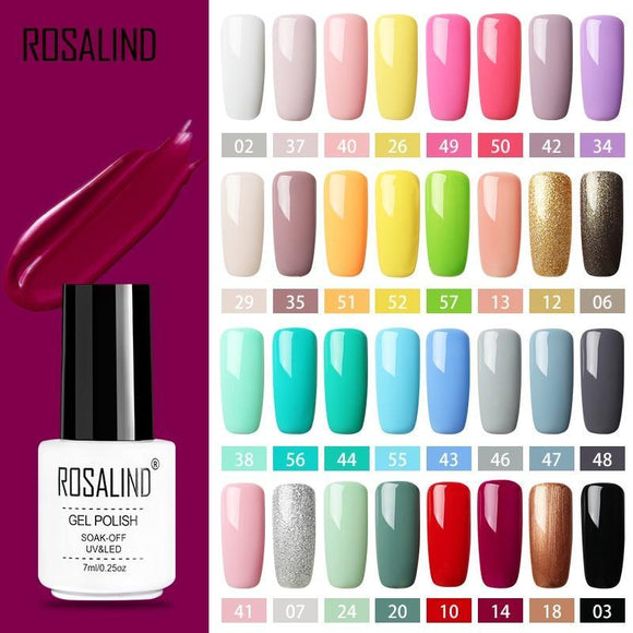 ***FREE*** ROSALIND Gel Polish Set All For Manicure Semi Permanent Vernis top coat UV LED Gel Varnish Soak Off Nail Art Gel Nail Polish - EZShopping