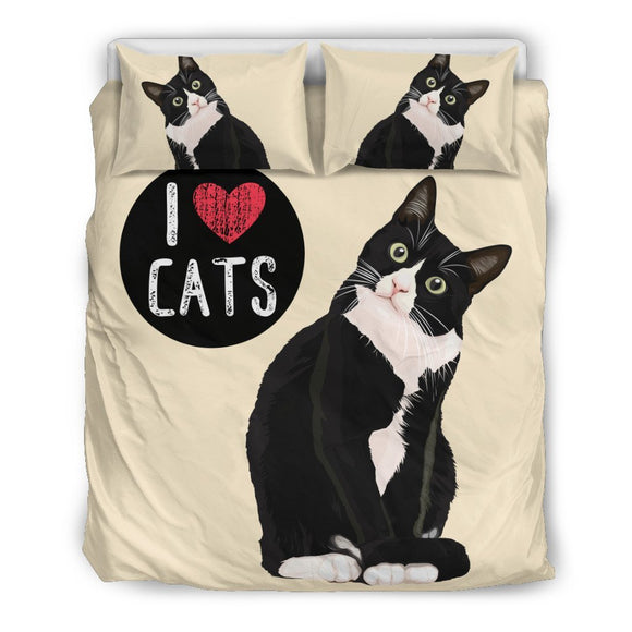 I Love Cats Bedding Set for Cat Lovers - EZShopping