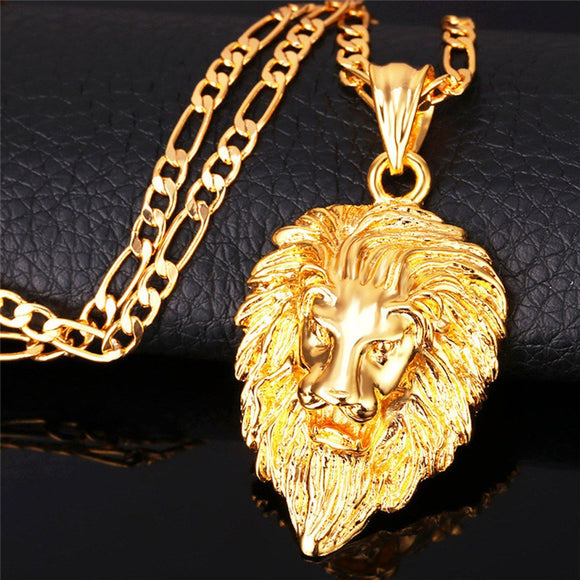 Lion Head Pendant & Necklace Animal King-Beast Breed - EZShopping