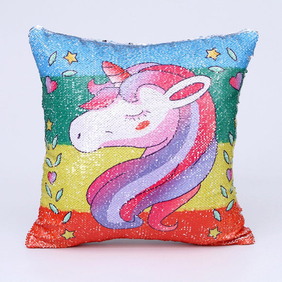 Sequins Unicorn Cushion Cover - EZShopping