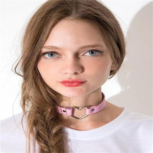 Sexy Punk Gothic Leather Heart Studded Choker Necklace - EZShopping