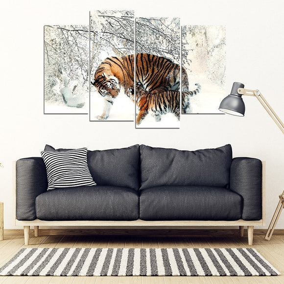 Tigers in Snow 4 Piece Framed Canvas - EZShopping
