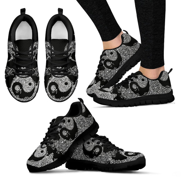 Yin Yang Black Women's Sneakers - EZShopping