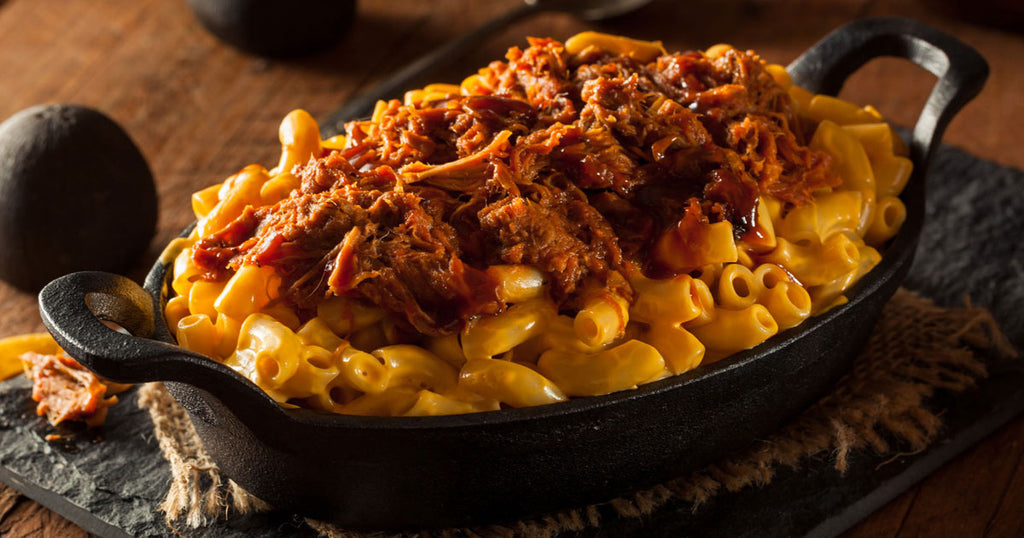 Slow Cooker Bacon BBQ Pork Mac & Cheese