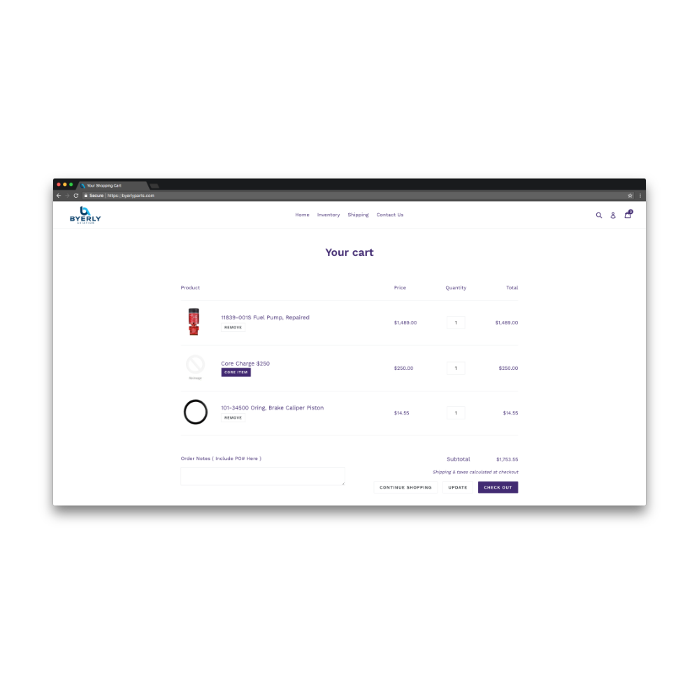 Byerly Parts Shopify App Kaleido API