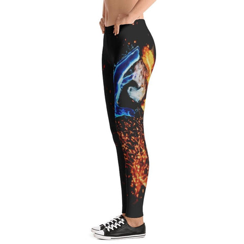 Abstract Water and Fire Leggings