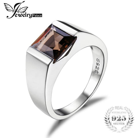 Men's Square 2.2ct Genuine Smoky Quartz Ring