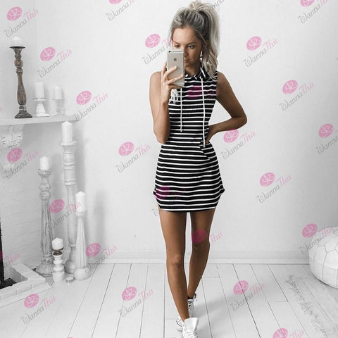 Black And White Striped Hoody Dress