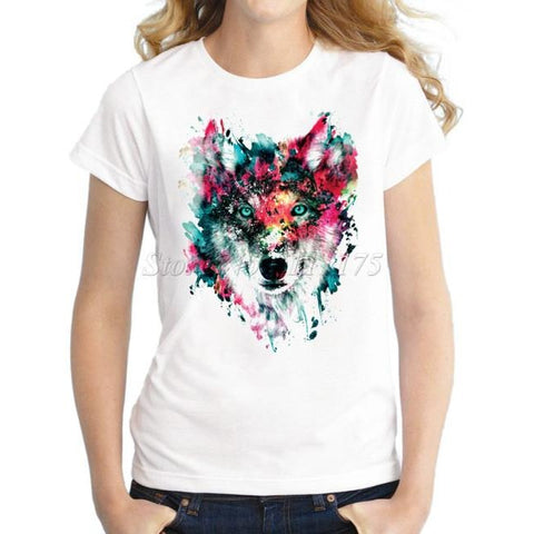 Painted Wolf Design T shirt
